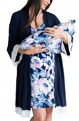 Angel Maternity Nursing Dress, Robe & Blanket Set