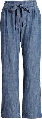 Caslon Tie Waist Chambray Crop Pants
