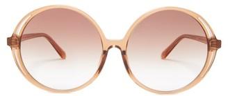 Linda Farrow Oversized Round-frame Acetate Sunglasses - Womens - Light Brown