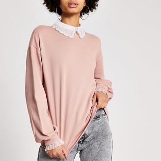 River Island Pink embellished scallop collar sweatshirt