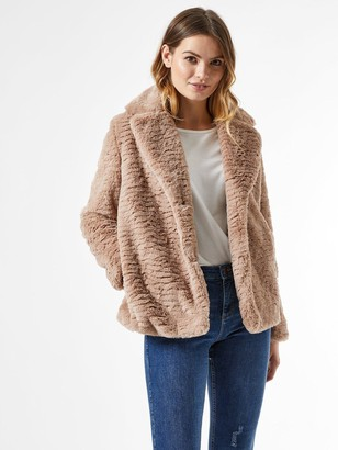 Dorothy Perkins Revere Collar Textured Faux Fur Coat - Mink
