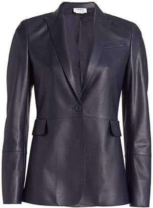 Akris Punto Long Perforated Leather Blazer
