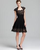 Tadashi Shoji Dress - Cap Sleeve with Lace Neck and Hem