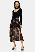 Topshop Womens Black Floral Metallic Thread Ruffle Maxi Skirt - Black
