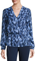 MICHAEL Michael Kors Printed V-Neck Peplum Top, Real Navy