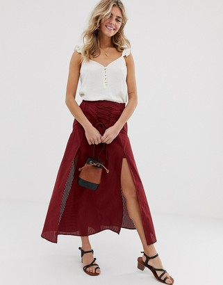 Asos DESIGN tie front midi skirt with lace inserts and splits
