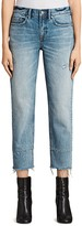 AllSaints Frayed Boyfriend Jeans in Light Indigo Blue