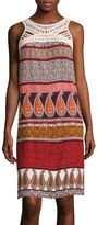 MSK Sleeveless Printed Crochet-Neck Sheath Dress