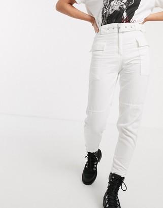 Bershka belted cargo trousers in ecru-White
