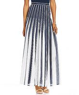 Pendleton Pleated Stripe Maxi A-Line Skirt