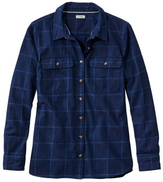 L.L. Bean Women's Heritage Washed Denim Shirt, Long-Sleeve Window Pane