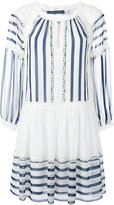 Alberta Ferretti lace trim striped flared dress