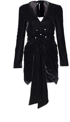 Rue Agthonis Black Velvet V-Neck Dress With Diamond Edge