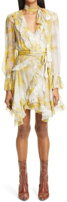 Zimmermann Long Sleeve Silk Chiffon Wrap Minidress