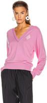 Chloé Diamond Logo V Neck Sweater in Dahlia Pink | FWRD