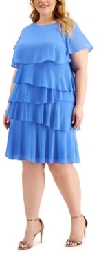 Jessica Howard Plus Size Chiffon Tiered Dress