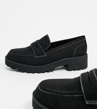 London Rebel Wide Fit chunky loafers in black