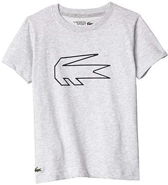 Lacoste Kids Novak Print Tee Shirt (Little Kids/Big Kids) (Silver Grey Chine/Navy Blue) Boy's Clothing