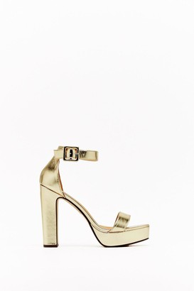 Nasty Gal Womens Higher Ground Metallic Platform Heels - Gold
