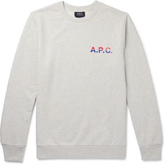 A.P.C. Michel Logo-Print Melange Loopback Cotton-Jersey Sweatshirt
