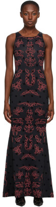 Misbhv Black and Red Graphic Monogram Long Dress