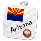 "3D Rose I Love Arizona Pot Holder, 8"" x 8"""