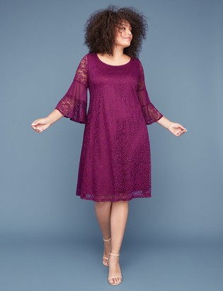 Lane Bryant 3/4 Bell-Sleeve Lace & Mesh Swing Dress