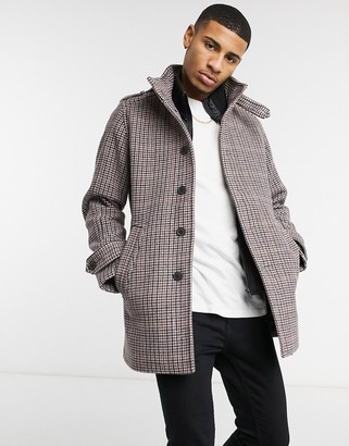 Selected overcoat with funnel neck in gray
