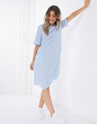 Qed London smock dress with pockets in blue