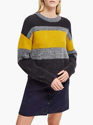 French Connection Rufina Block Stripe Knitted Jumper, Citrus/Grey