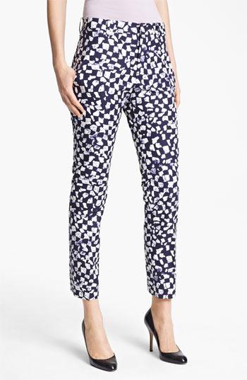 Jil Sander 'Niccolo' Slim Leg Cotton Taffeta Ankle Pants Womens White Size 8 US / 38 EU 8 US / 38 EU