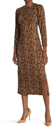 Velvet Torch Leopard Print Side Split Midi Dress