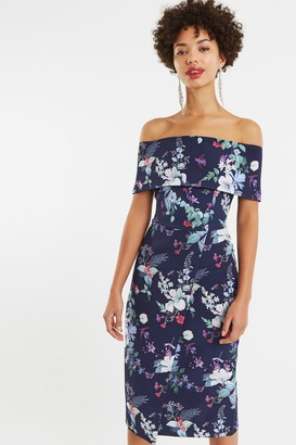 Oasis Multi Blue Bloom Bardot Midi Pencil Dress