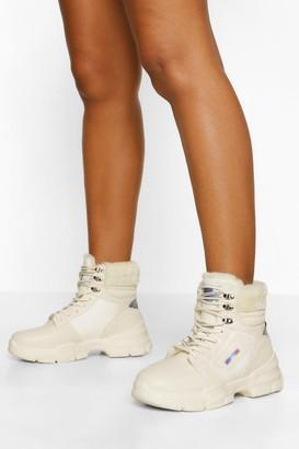 boohoo Faux Fur Cuff Chunky Hiker Boots