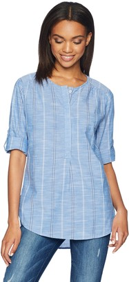 Nine West Women's Lucy High Low Henley Shirt with Roll Sleeves