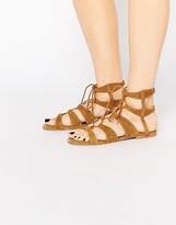 Vero Moda Real Leather Tie Up Flat Sandal