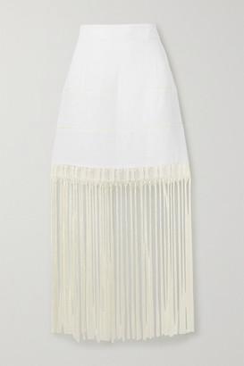 ZEUS + DIONE Marina Fringed Crochet-trimmed Linen Mini Skirt - White