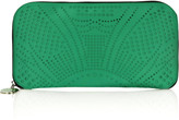 Perforated satin clutch