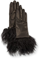 Guanti Giglio Fiorentino Leather Gloves w/ Fur Cuffs, Black