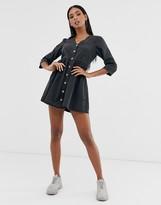 Asos Design DESIGN soft denim tea dress in black