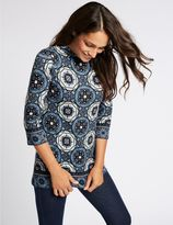 Marks and Spencer Mosaic Print Round Neck 3/4 Sleeve Tunic