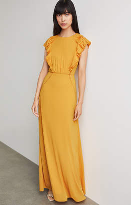 BCBGMAXAZRIA Pleated Ruffle Gown