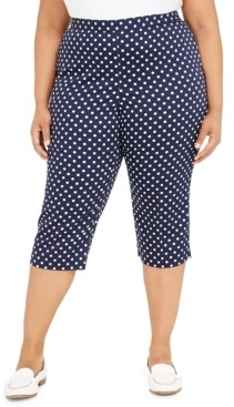 Alfred Dunner Plus Size Ship Shape Dot-Print Capri Leggings