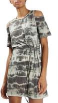 Topshop Tie Dye Cold Shoulder T-Shirt Dress