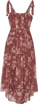 Zimmermann Unbridled Gathered Floral-print Silk-georgette Midi Dress