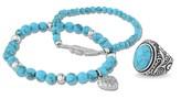 Steel By Design Steel by Design Howlite Stretch Bracelets withRing Set