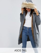 ASOS Tall ASOS TALL Parka with MA1 Styling and Removable Fur Liner