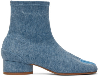 Maison Margiela Blue Denim Low Heel Tabi Boots