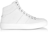 Jimmy Choo Belgravi White Embossed Nubuck Men's High Top Sneaker w/Stars