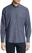 Zachary Prell Dobby-Print Long-Sleeve Sport Shirt